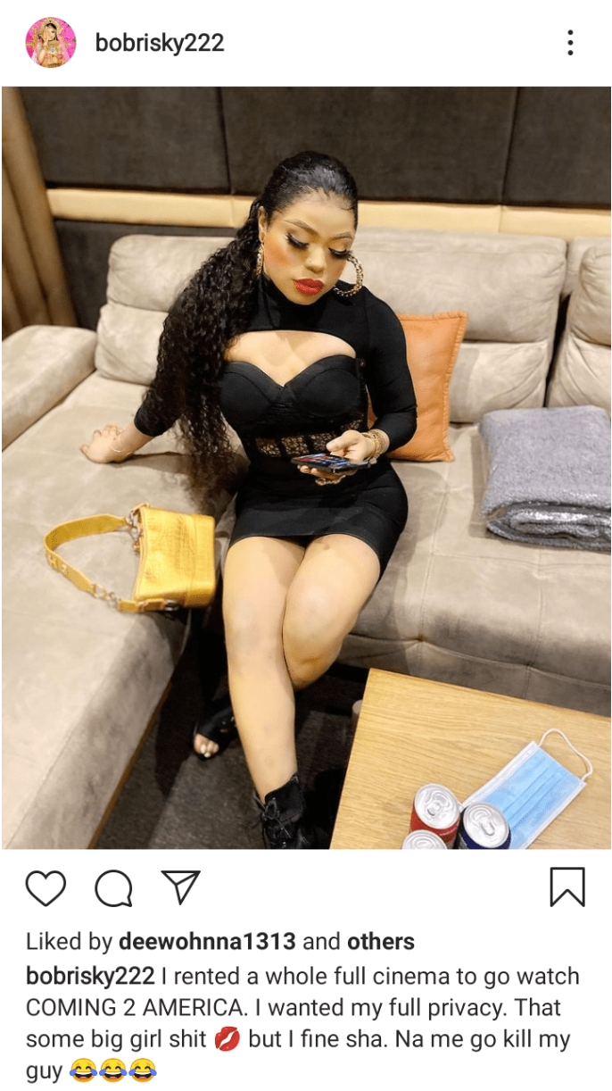 I Rented A Whole Full Cinema To Go Watch Coming To America 2- Bobrisky Brags