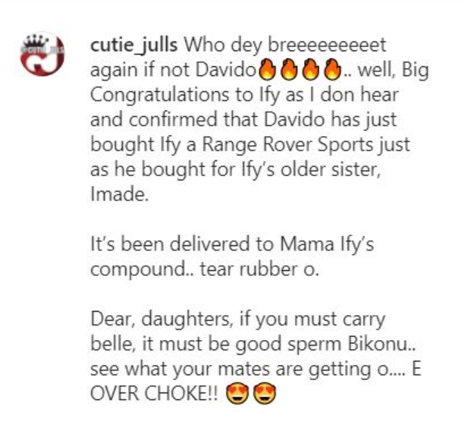 Singer Davido Allegedly Gifts Ifeanyi New Range Rover SUV Days After Imade Got Hers