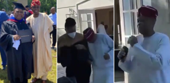It's no doubt that Davido's family members are currently in a celebratory mood as the singer's uncle bagged a degree in Criminal Justice at the Atlanta Metropolitan State College. Various photos and videos from the graduation party where family members were spotted cerebrating the great feat have been spotted on social media. However, a video showing Davido's Father dancing with a lovely woman was recently spotted. The video was captured during the after party of the Senator's latest achievement and Davido's Father obviously had a good time at the event. The video showed Davido's dad in a traditional outfit with a wine cap on his head as he danced to Kiss Dani