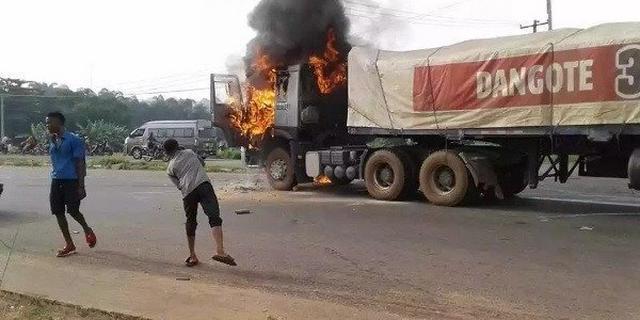 Dangote Truck Set Blaze After Crushing Pupil To Death