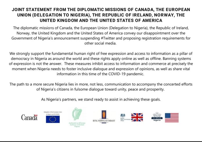 #TwitterBan: Canada, EU, UK, US, Others Offer Assistance To FG
