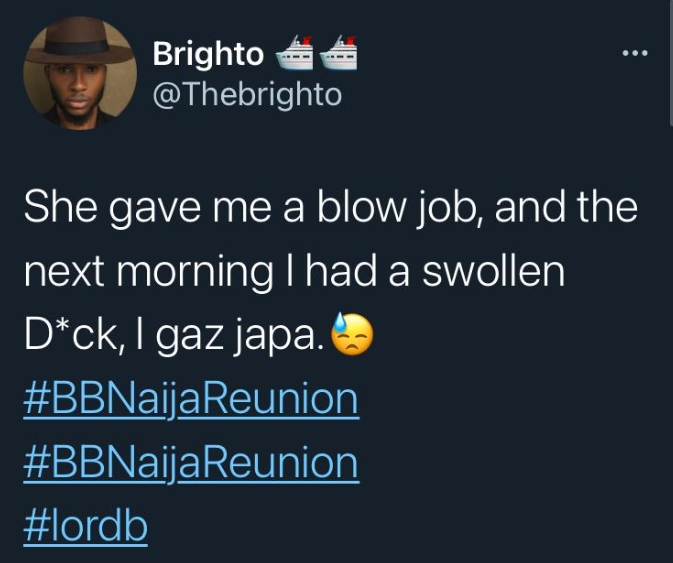BBNaija Reunion: See What Brighto Said Happened To His Manhood After The 'Freaky Act' With Dorathy
