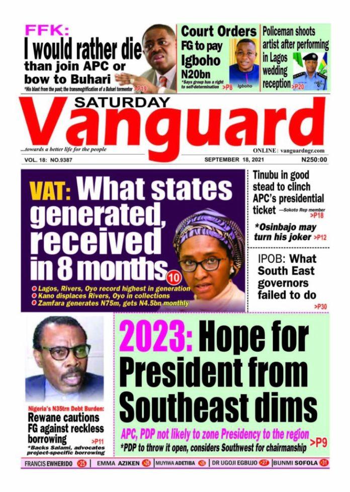Nigeria's Newspaper Headlines: VAT: What states generated, received in 8 months
