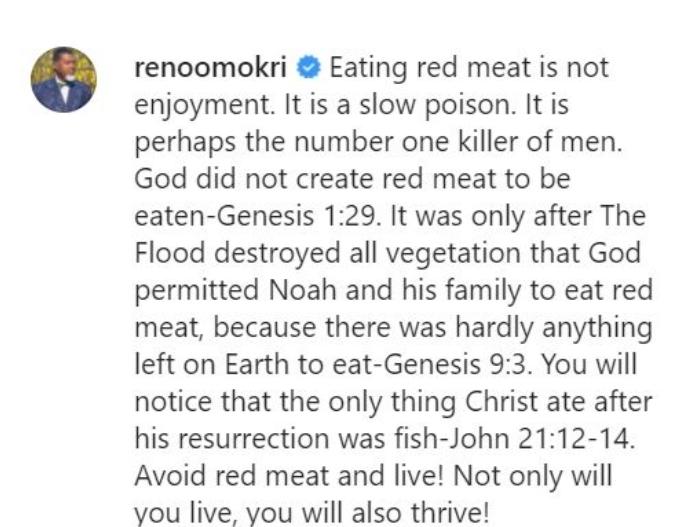 Reno Omokri Says Red Meat Is Slow Poison
