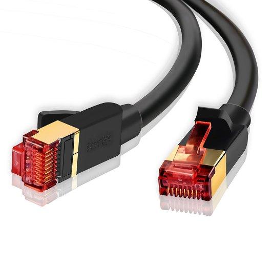 Ethernet Gigabit Lan Network Cable (RJ45) Advanced CAT 7  Gold Connectors  10Gbps 600MHz  10/100/1000Mbit/s   Patch cable  STP  compatible with CAT.5 / CAT.5e / CAT.6   Switch/Router/Modem/Patch panel / Access Point / patch fields   20M IBRA Round Black