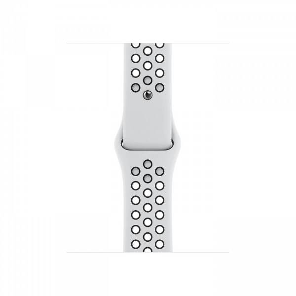 Часы Apple Watch Series 6 Nike, Размер корпуса 40 мм, GPS, Корпус из алюминия серебристого цвета, спортивный ремешок Nike цвета «чистая платина/чёрный»