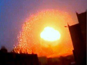 rekaman video/foto ledakan bom neutron di Yaman (Mei, 2015)