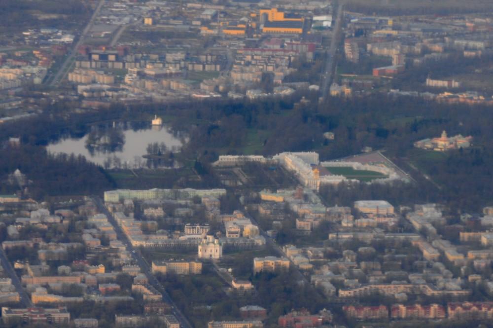Вид с самолета на Екатерининский дворец в Царском селе