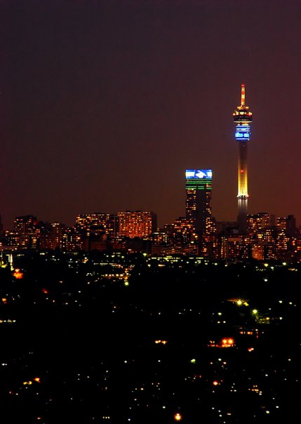 The night sky over Jo'burg. The CBD's Hillbrow Tower looms in the background. Beauty.