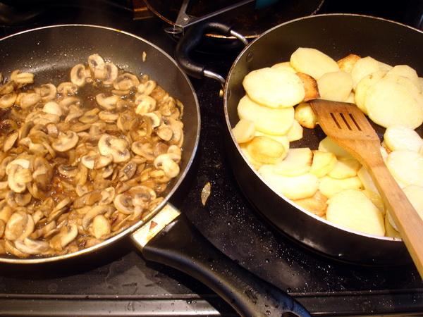 Mushroom Casserole - Preping Mushrooms and Potatoes