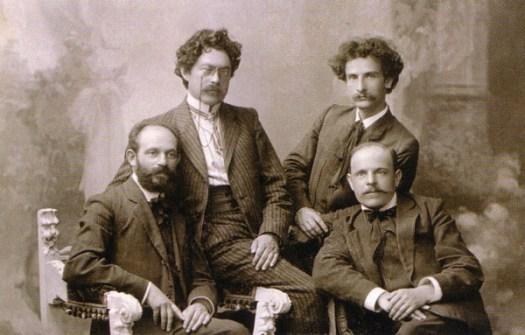Слева направо: Аарон Борохов (Борхияху) Шауль Черняховский, Перец Хиршбейн, Хаим Нахман Бялик