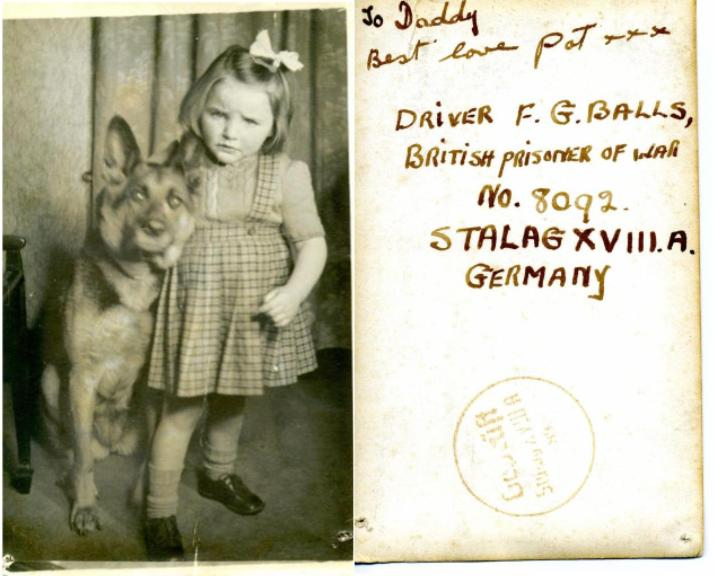 A photo sent to Dvr Fred Balls, RASC of his daughter and her dog