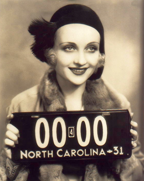 carole lombard 1931 north carolina plate large