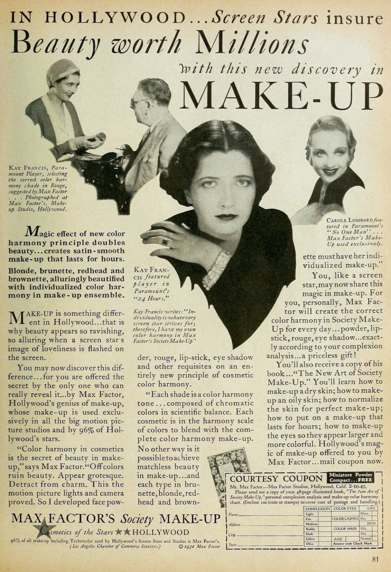 carole lombard motion picture october 1931 max factor ad 00a