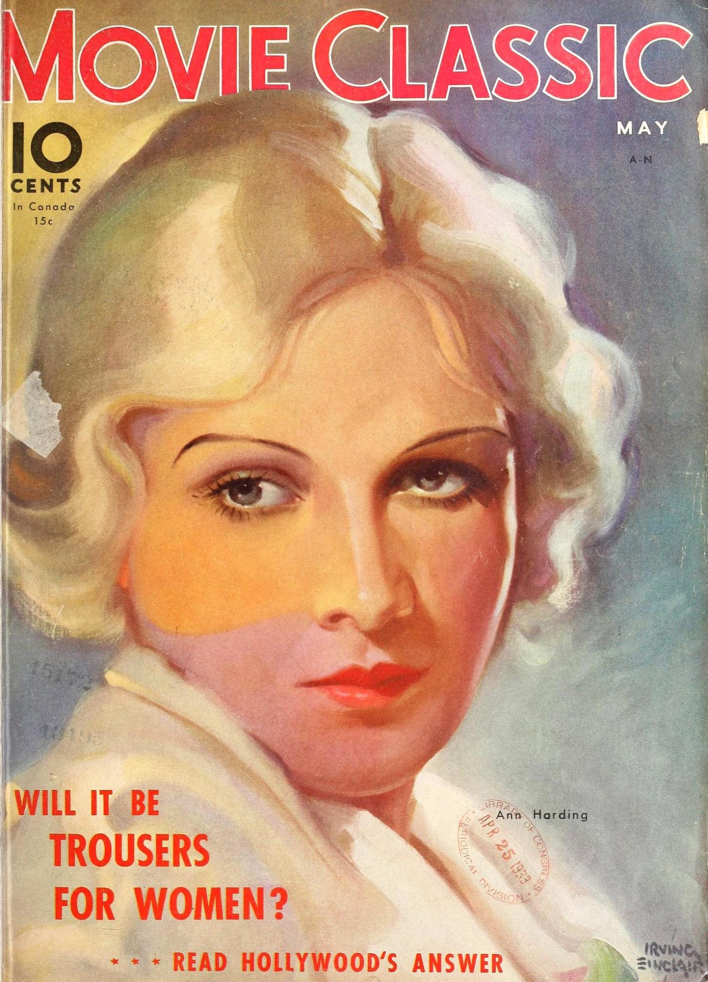 ann harding movie classic may 1933 largest