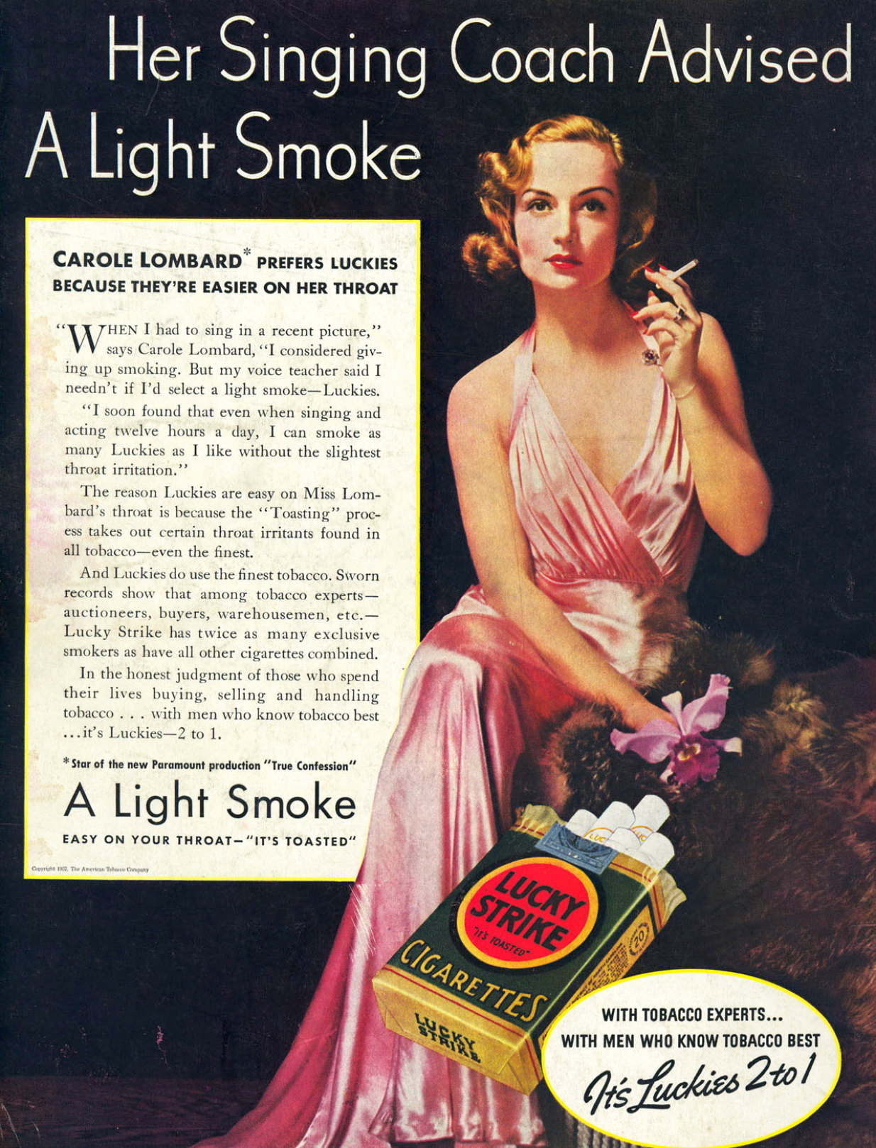 carole lombard lucky strike 1937 large color ad 00