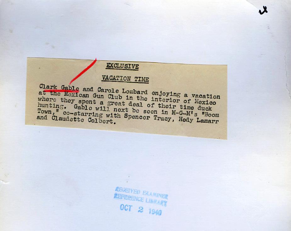 carole lombard clark gable 1940a duck hunting oct 2 mexico ba