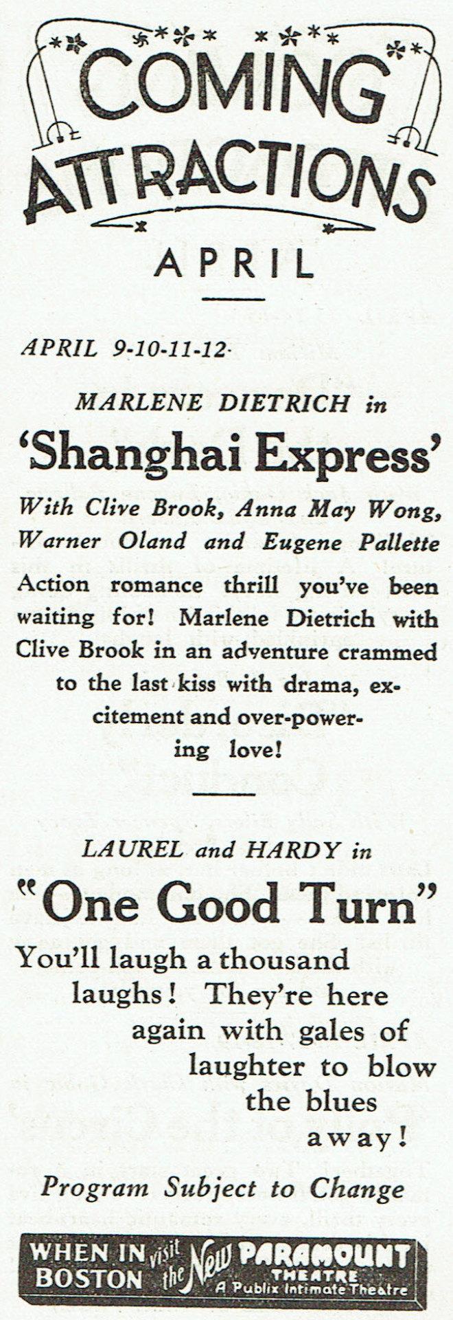 carole lombard publix theatre screen review april 1932ib