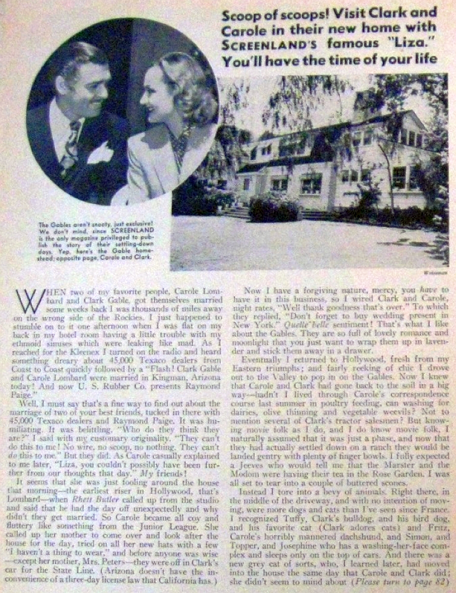carole lombard screenland the clark gables at home larger