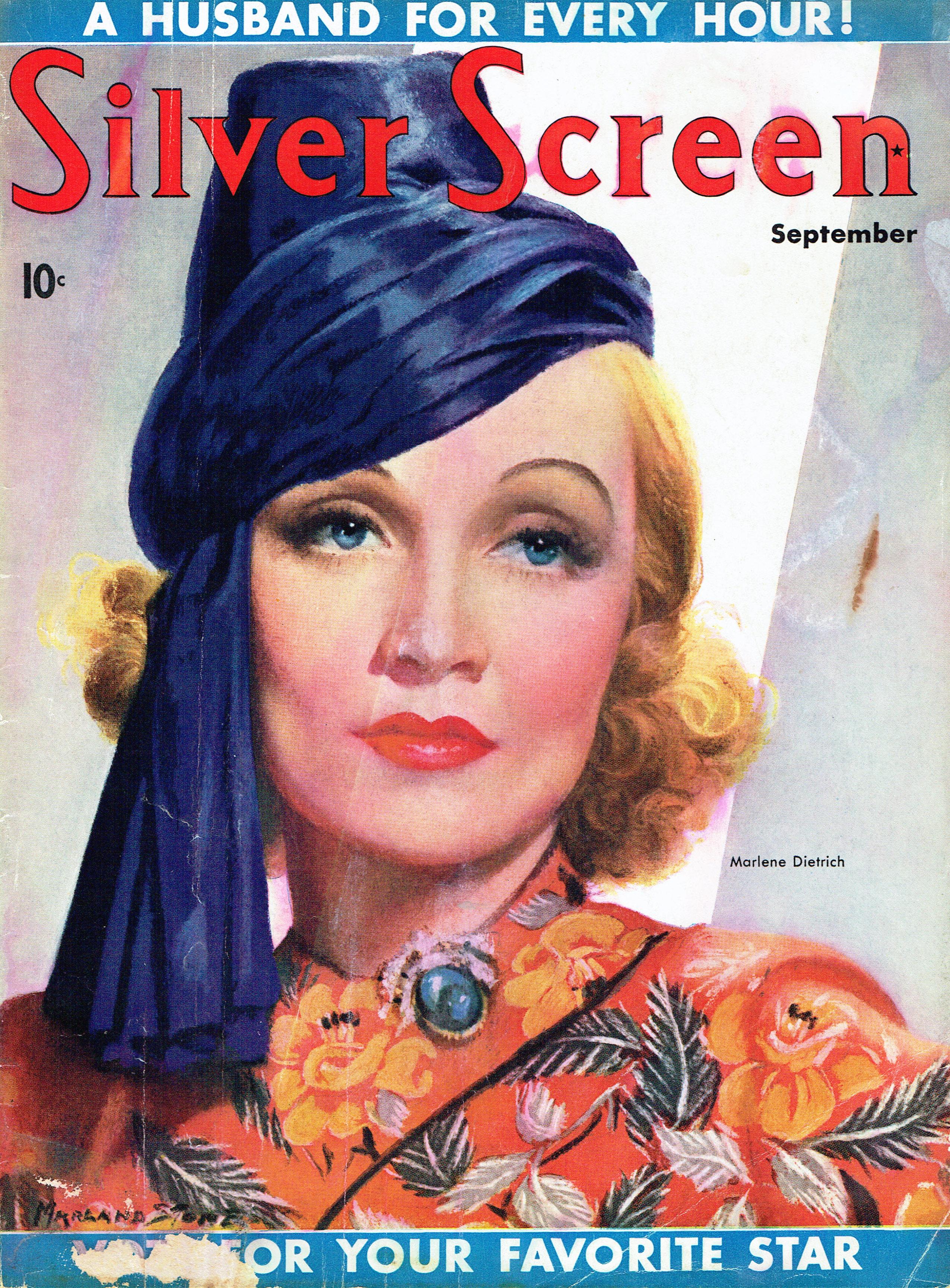 marlene dietrich silver screen september 1937 cover