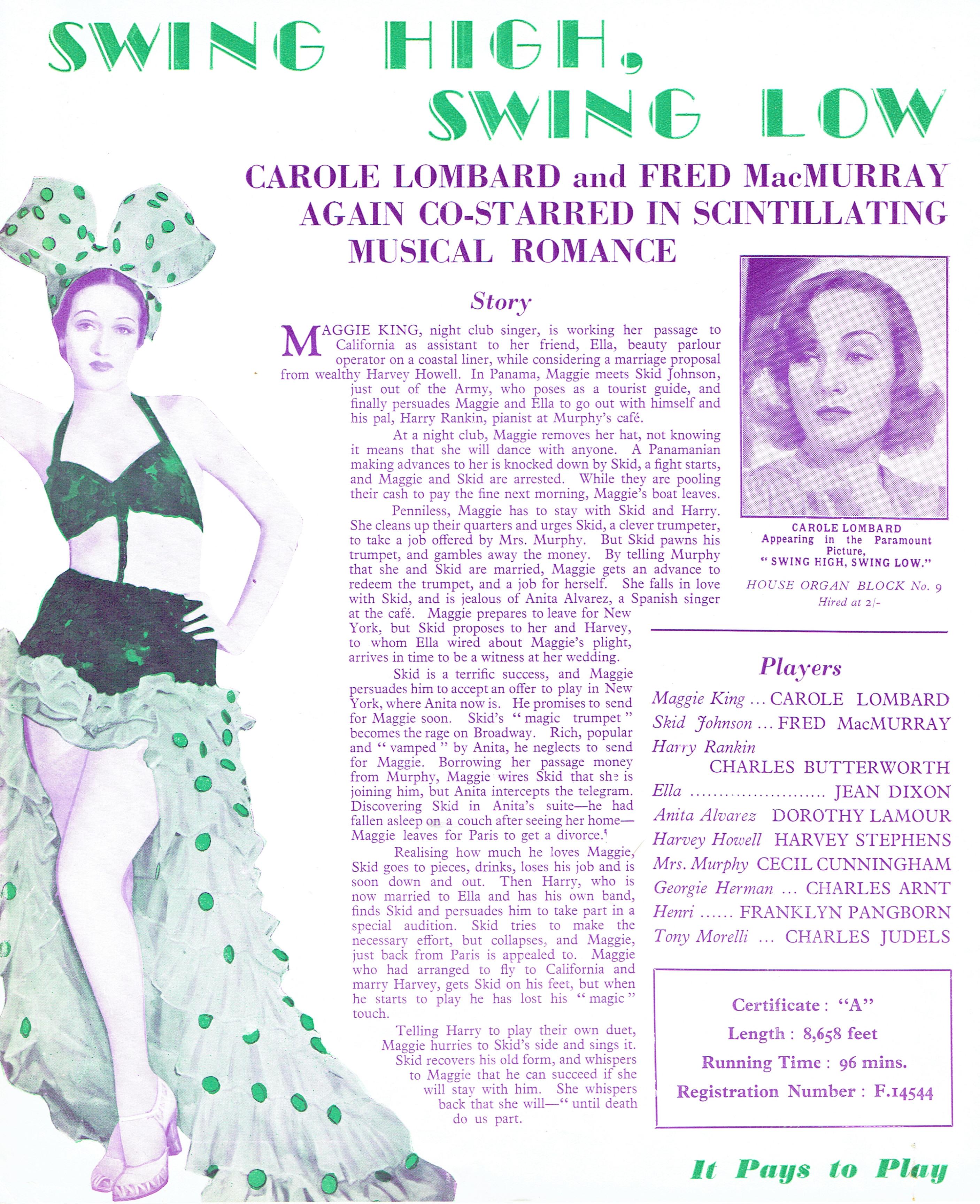 carole lombard swing high, swing low uk pressbook 01