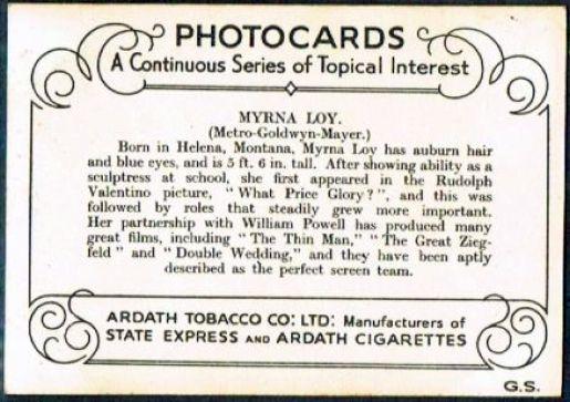 myrna loy ardath tobacco cards 1937