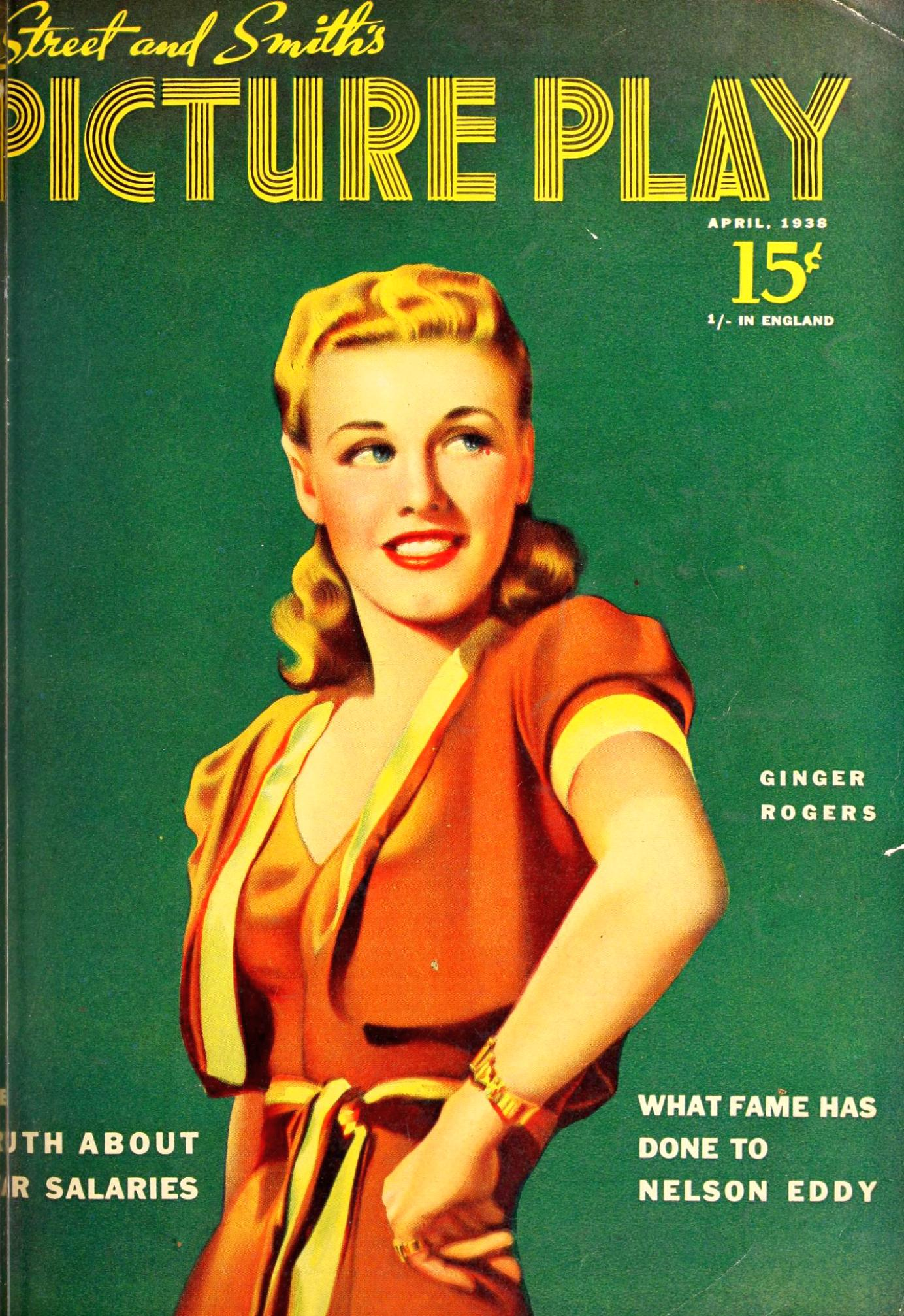 ginger rogers picture play april 1938 cover large