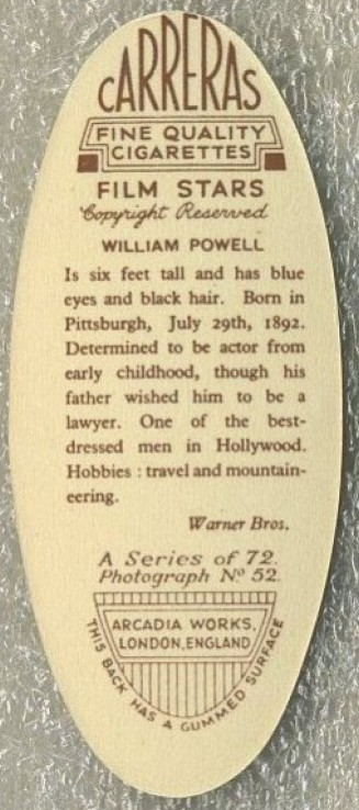 carreras 1934 william powell back
