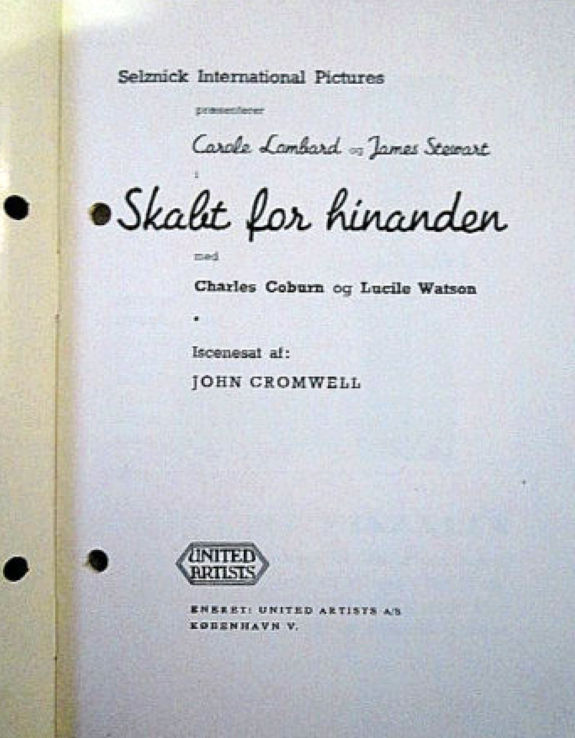 carole lombard made for each other danish novel program 01a