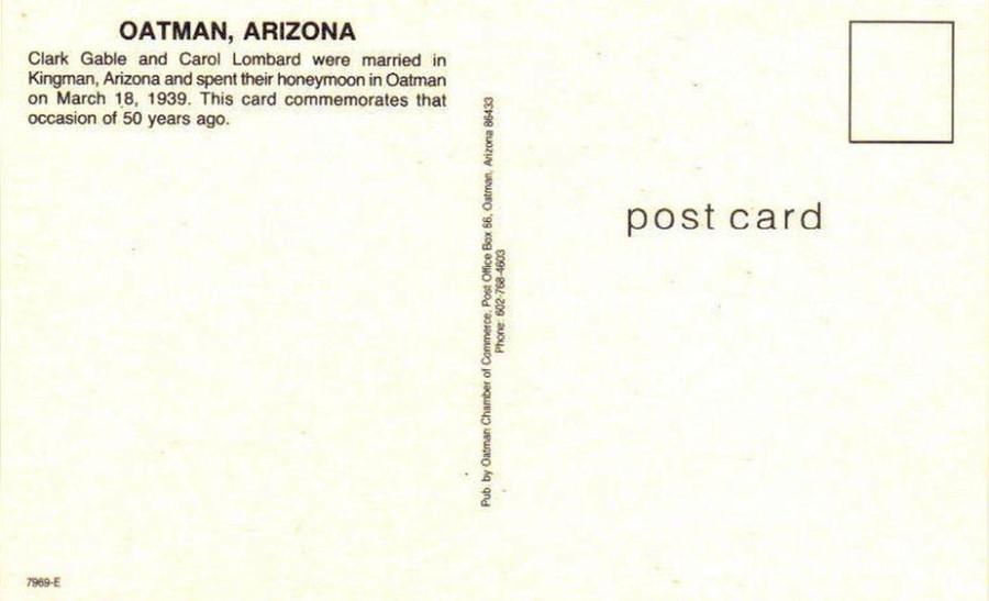 carole lombard clark gable anniversary postcard back 00a
