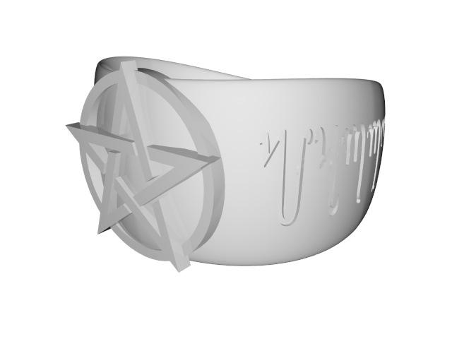 3D pentacle ring render