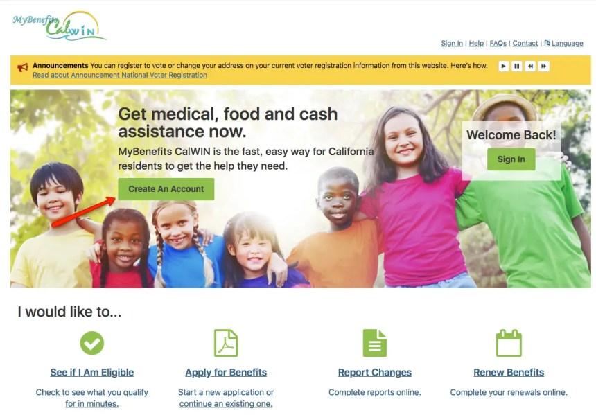 """Create a MyBenefits CalWIN Account Website"""