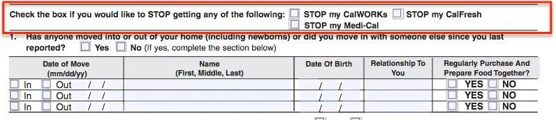 """SA7 Form - Stop CalFresh Benefits"""