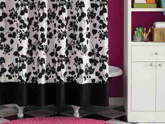Black And White Floral Shower Curtain Decor IdeasDecor Ideas