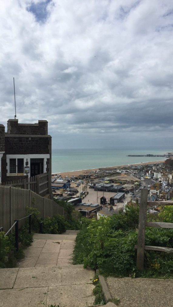 view of Hastings town from top of stairs