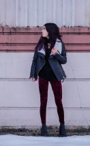 looking-glass-dynamite-leather-shearling-jacket-sammydress-black-choker-sweater-topshop-red-velvet-leggings-hm-chunky-ankle-boots-6-of-1