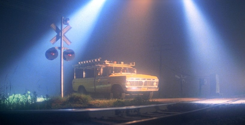 An alien spaceship hovers over Roy Neary's truck in CLOSE ENCOUNTERS OF THE THIRD KIND (1977)