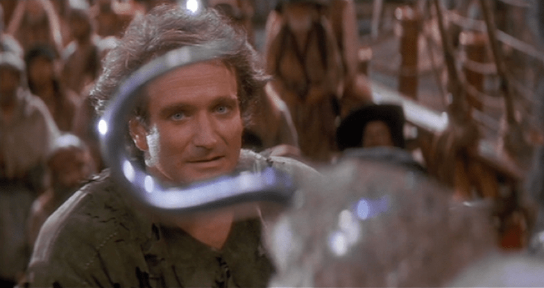 Robin Williams stars as the adult Peter Pan in Steven Spielberg's HOOK (1991)