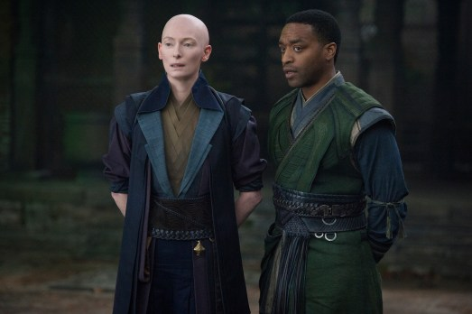 Marvel's DOCTOR STRANGE L to R: The Ancient One (Tilda Swinton) and Mordo (Chiwetel Ejiofor) Photo Credit: Jay Maidment ©2016 Marvel. All Rights Reserved.