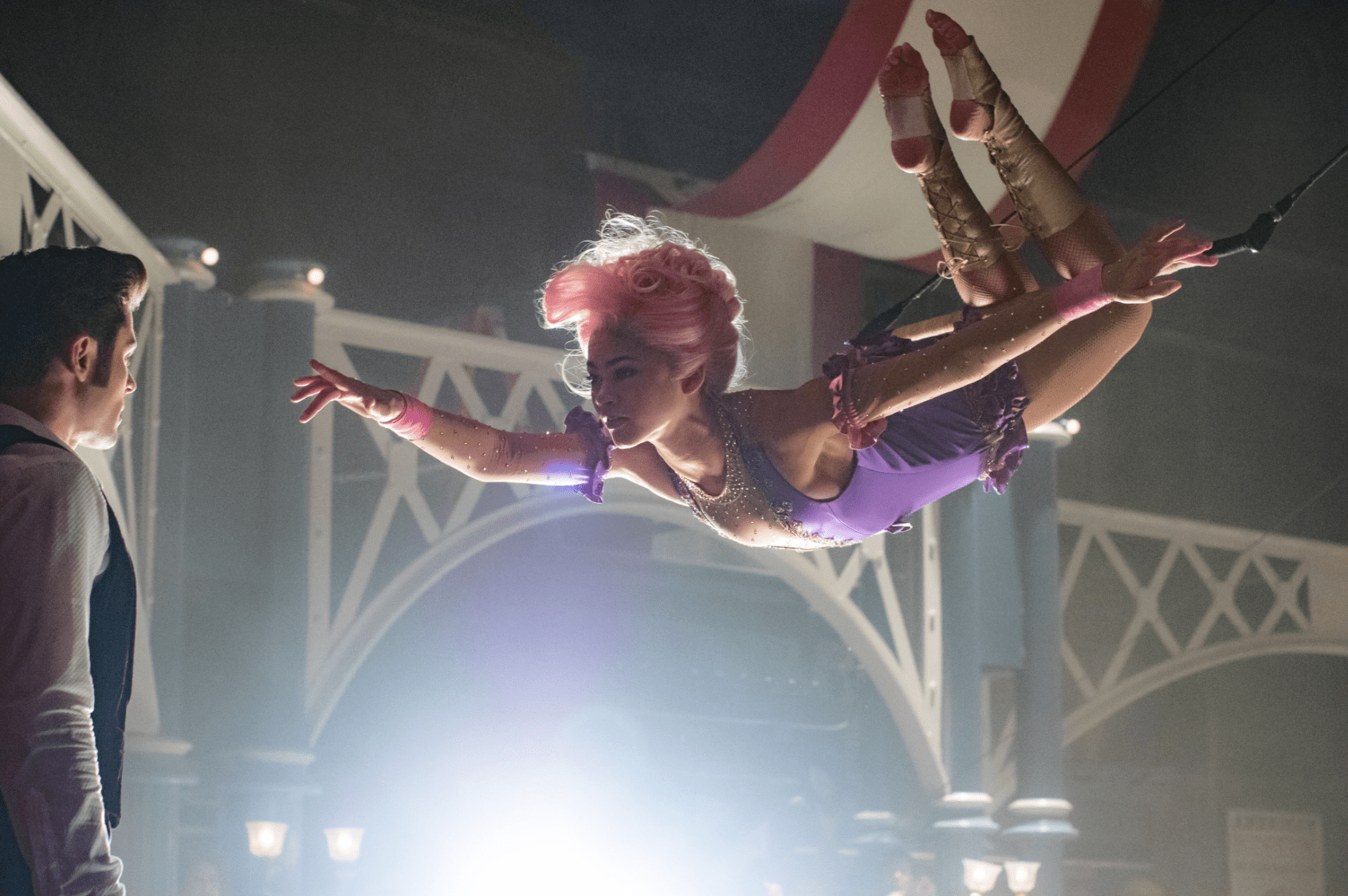 Zac Efron and Zendaya star in THE GREATEST SHOWMAN .