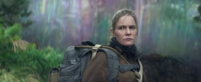 Jennifer Jason Leigh co-stars in ANNIHILATION.