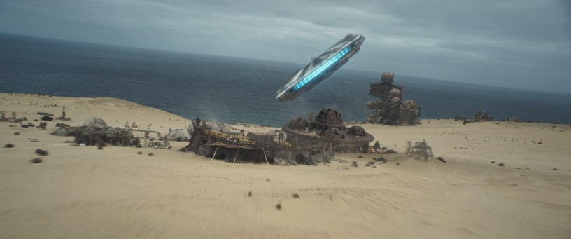 The Millennium Falcon approaches outpost in SOLO: A STAR WARS STORY