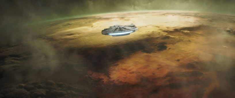 The Millennium Falcon enters the atmosphere in SOLO: A STAR WARS STORY