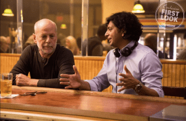 Bruce Willis and director M. Night Shyamalan on the set of GLASS