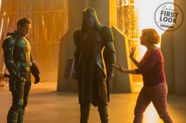 Jude Law and Lee Pace are staged by co-director Anna Boden in Marvel Studios' CAPTAIN MARVEL