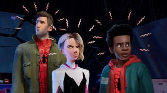 Peter Parker, Gwen Stacey, and Miles Morales in SPIDER-MAN: INTO THE SPIDER-VERSE (2018)