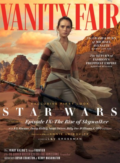 Rey character cover for Vanity Fair's coverage of STAR WARS: THE RISE OF SKYWALKER (2019)