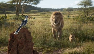 The voices of John Oliver (Zazu), James Earl Jones (Mufasa), and JD McCrary (Young Simba) co-star in THE LION KING (2019)