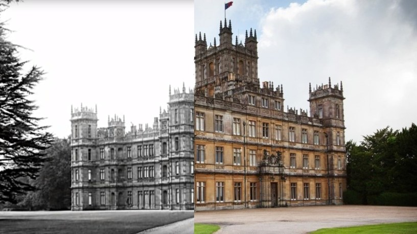 A side-by-side of Highclere Castle, a.k.a. Downton Abbey, from a photo nearly 100 years ago and today.