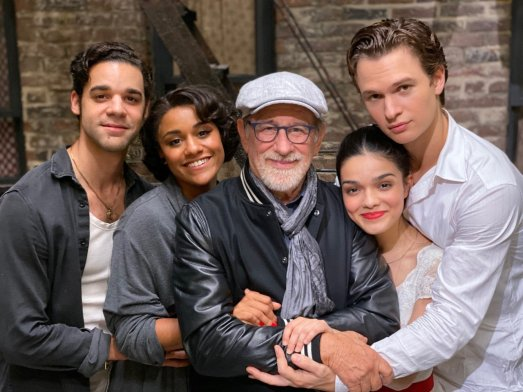 David Alvarez (Bernardo), Ariana DeBose (Maria), director Steven Spielberg, Rachel Zelger (Maria), and Ansel Elgort (Tony) from the final day of shooting WEST SIDE STORY (2020)